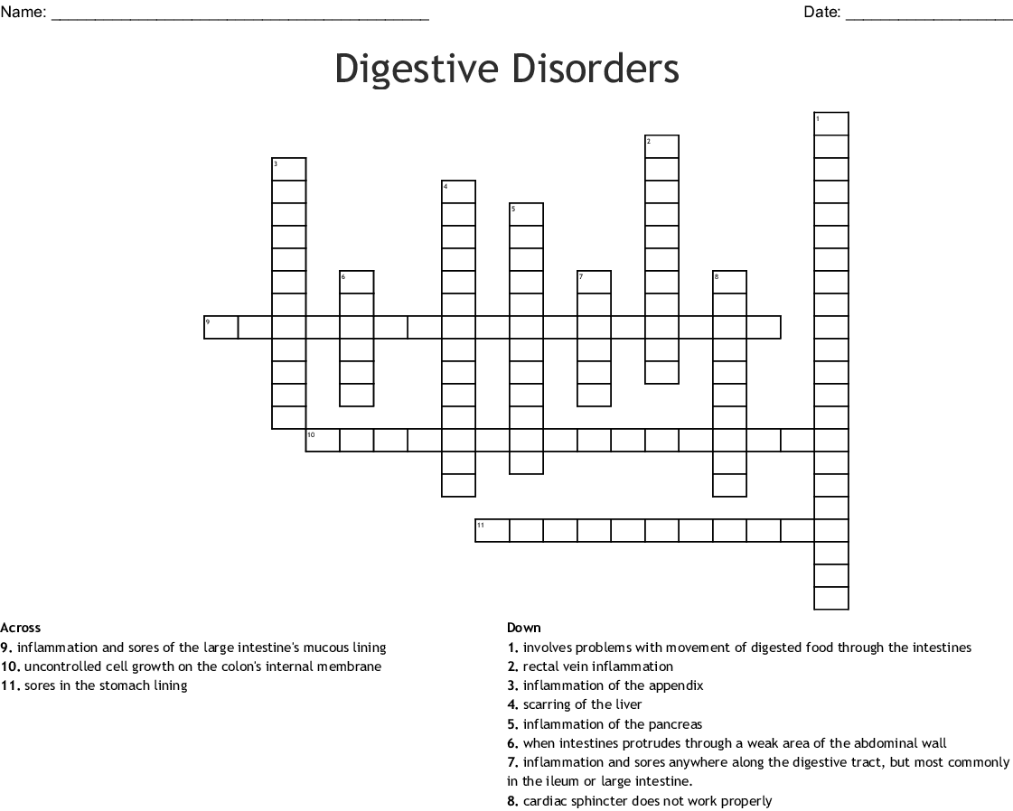 Disease Of The Digestive System Word Search Wordmint