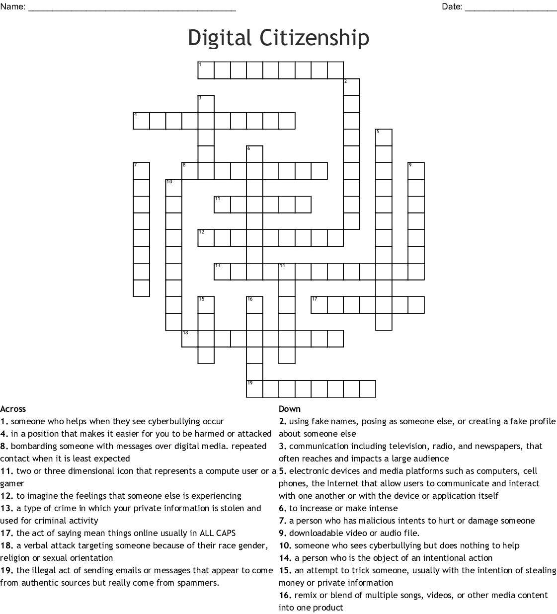 Digital Citizenship crossword - WordMint