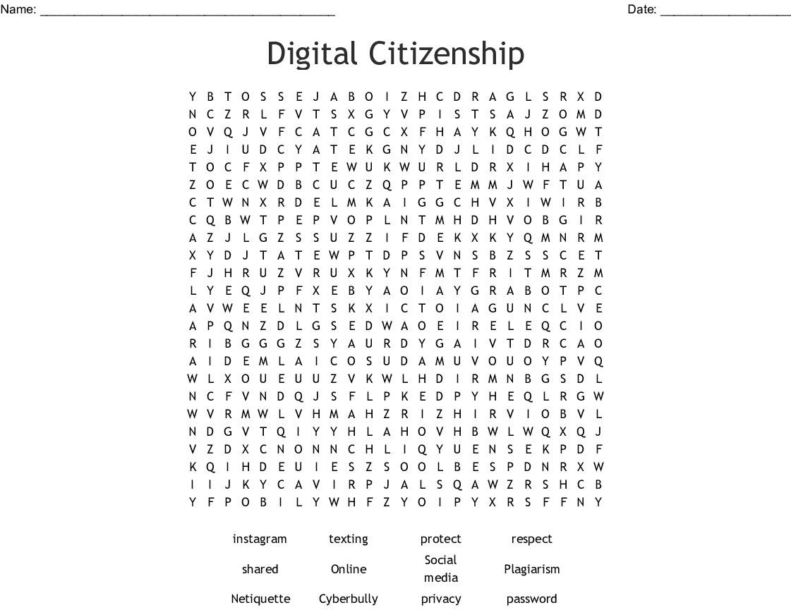 Digital Citizenship Word Search - WordMint