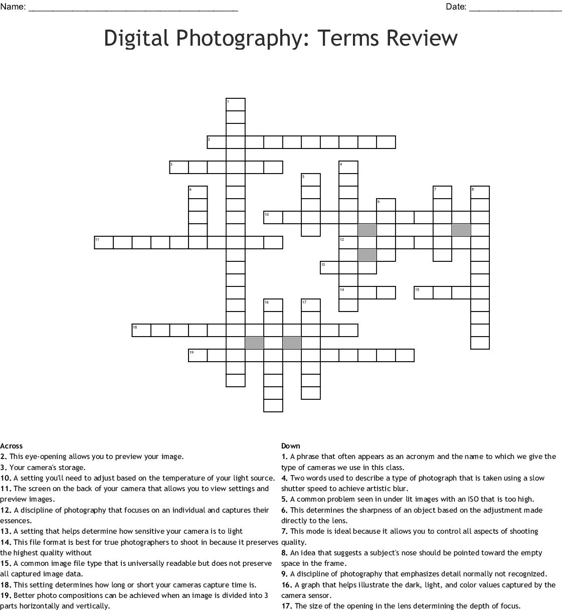 Digital Photography Crossword Puzzle