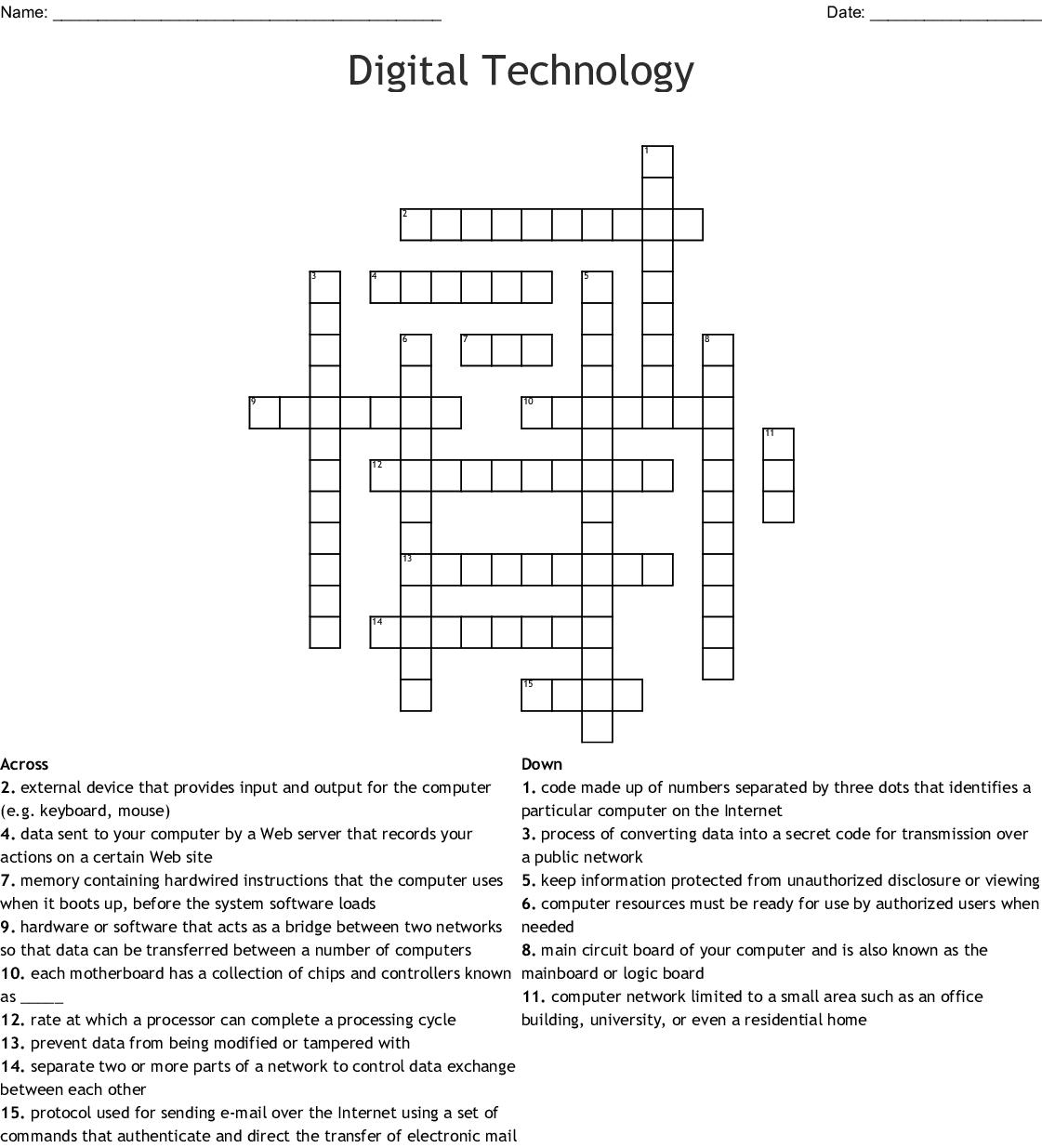 Digital Technology Crossword Wordmint