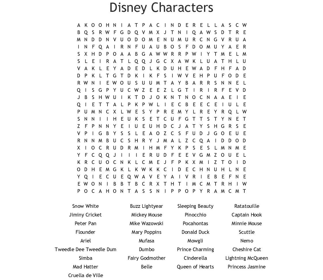 picture about Disney Word Search Printable called Disney Figures Phrase Appear - WordMint