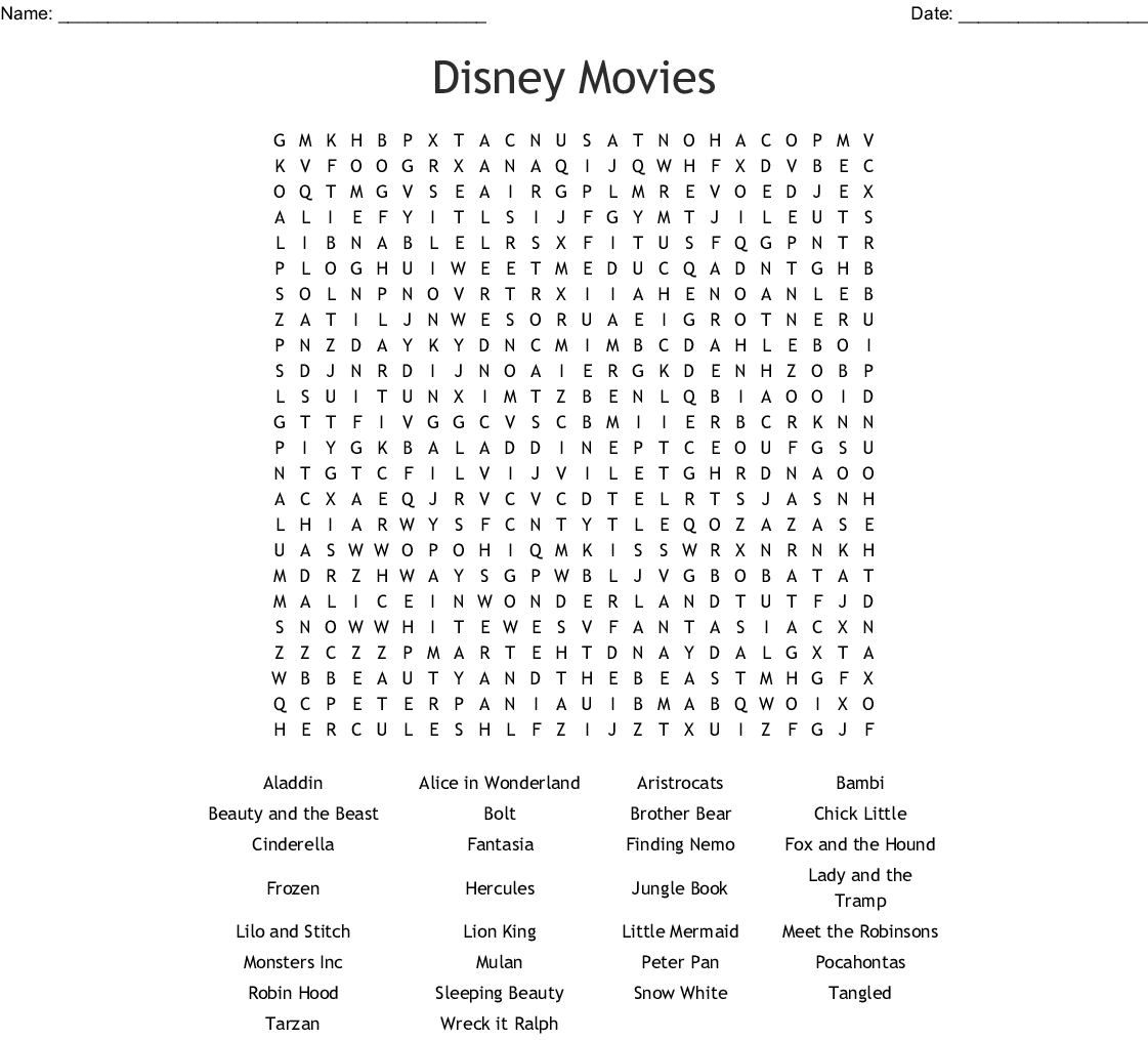 Disney Movies Word Search - WordMint