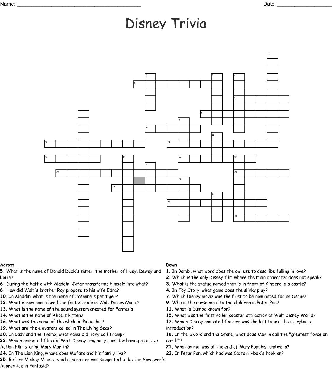 IT`S ALL DISNEY Crossword - WordMint
