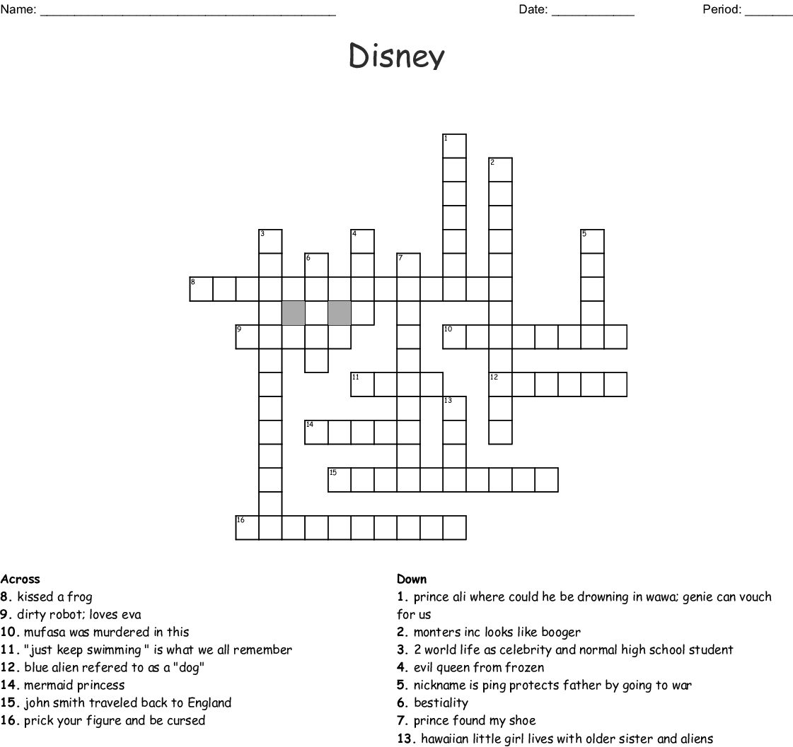 Universal image throughout disney crossword puzzles printable