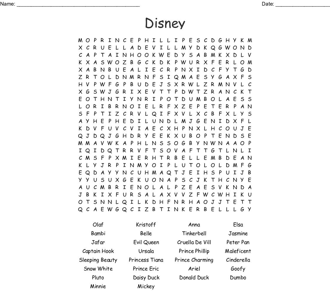 disney princess Word Search - WordMint