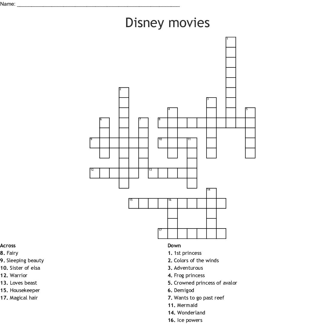 photograph regarding Disney Crossword Puzzles Printable identified as Princess Crossword - WordMint