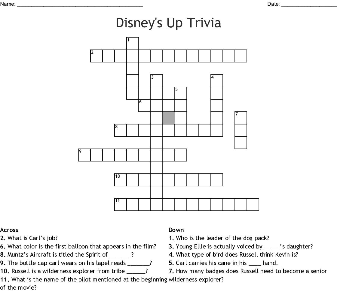 Disney's Up Trivia Crossword - WordMint