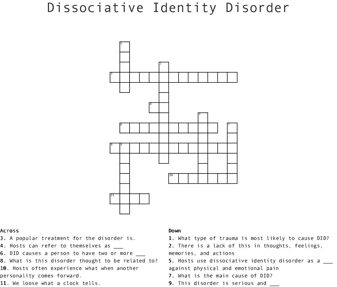 Abnormal Psychology 2 Crossword   WordMint