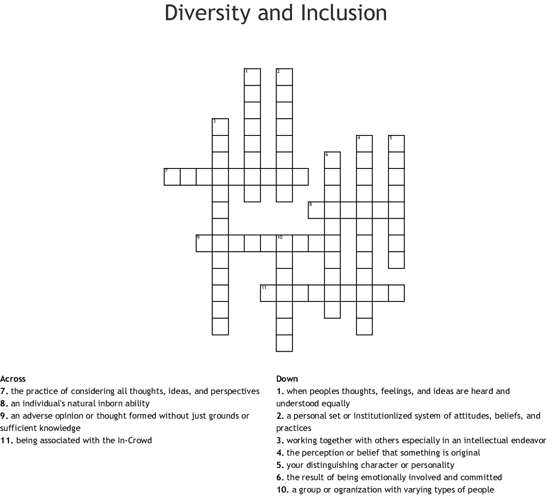 Diversity and Inclusion Crossword - WordMint