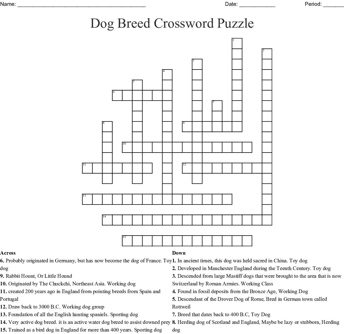 15 Dog Breed Crossword Puzzle Wordmint