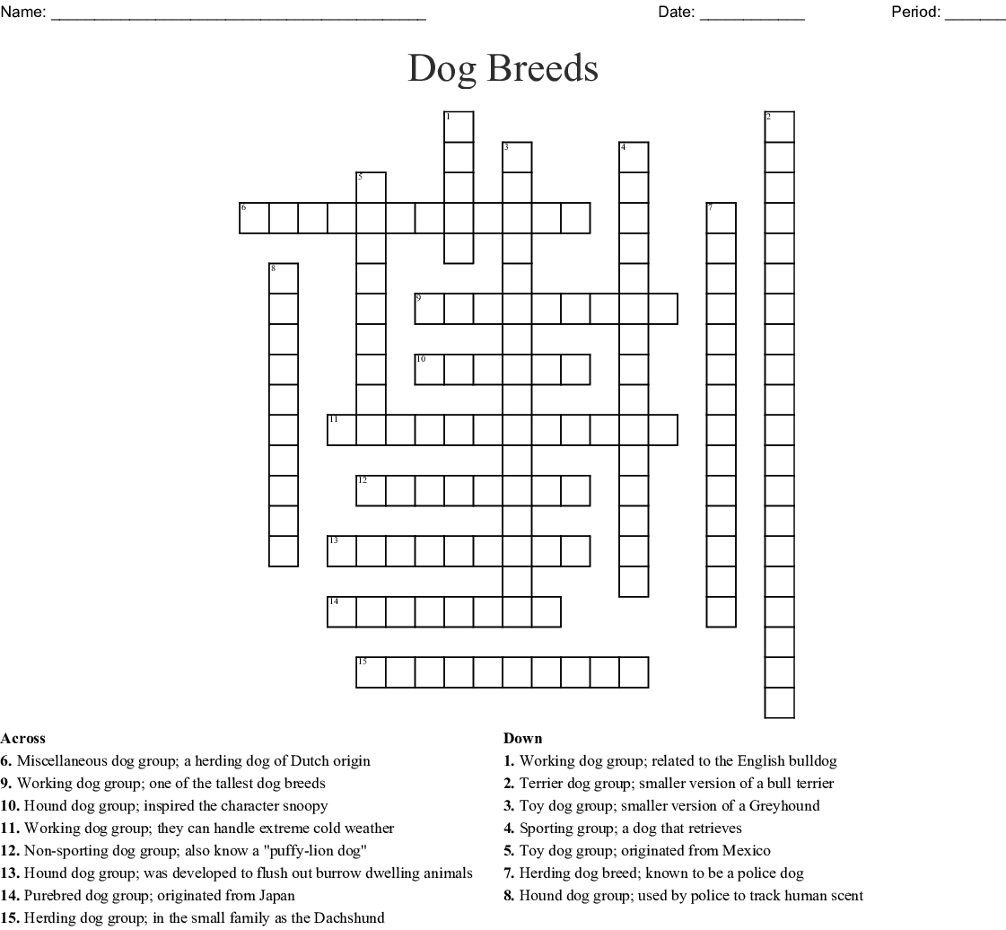 15 Dog Breed Crossword Puzzle Wordmint