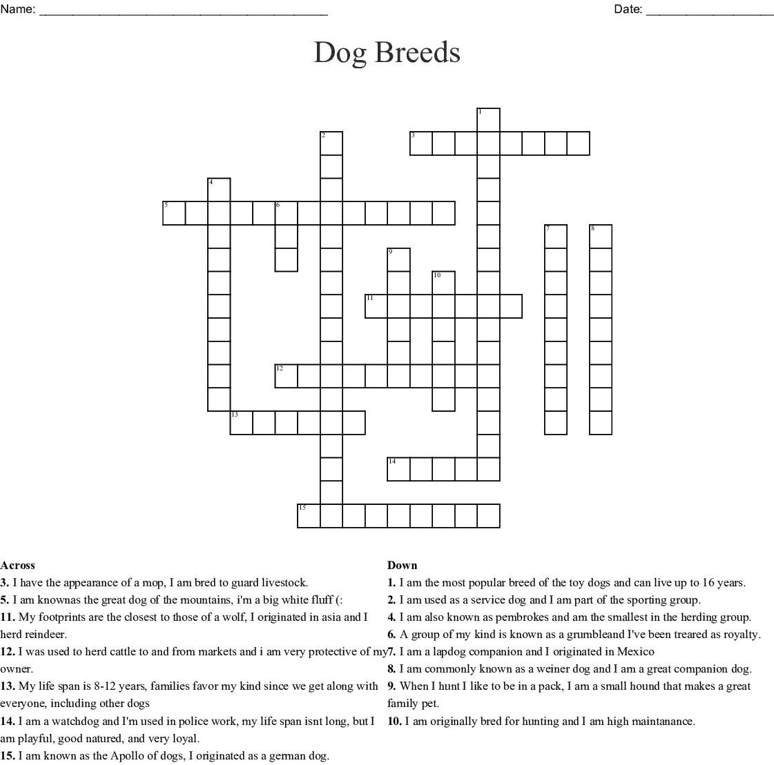 Dog Breeds Crossword Wordmint