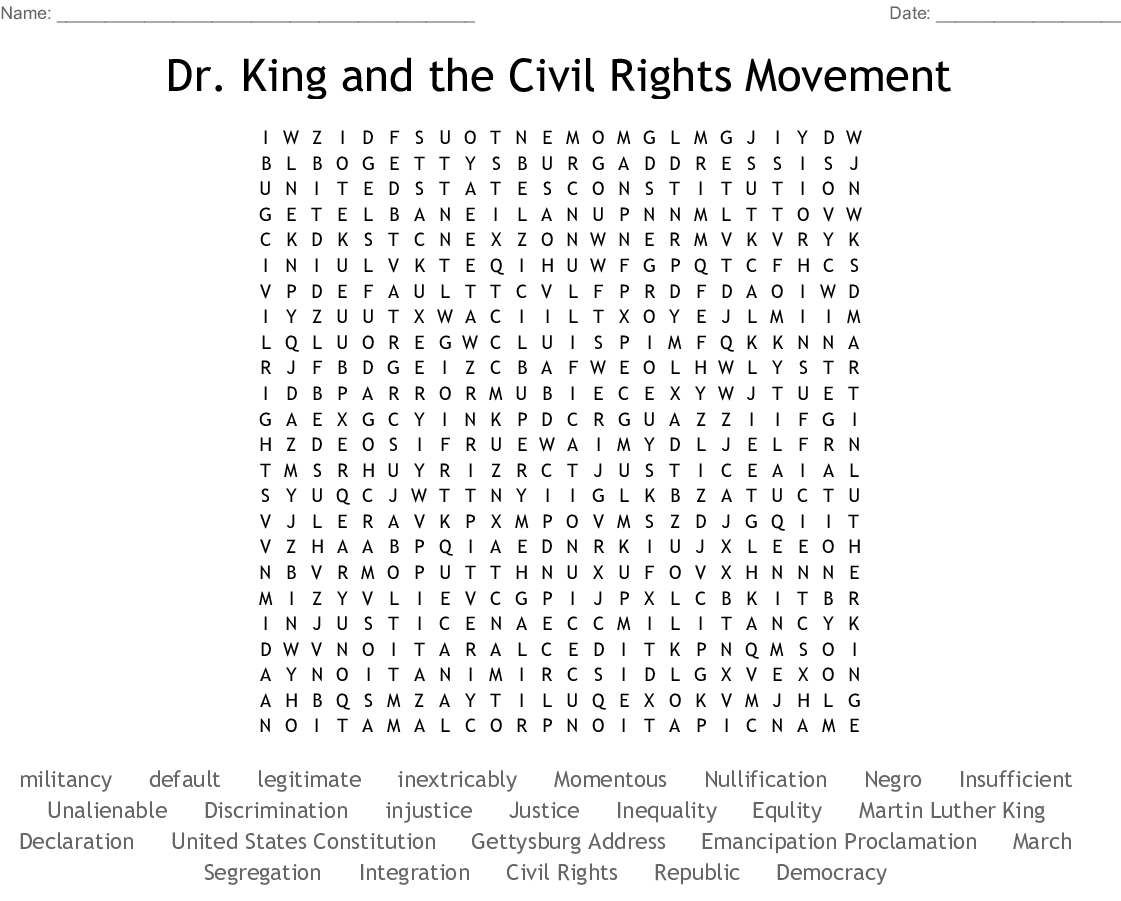 Dr. King and the Civil Rights Movement Word Search - WordMint