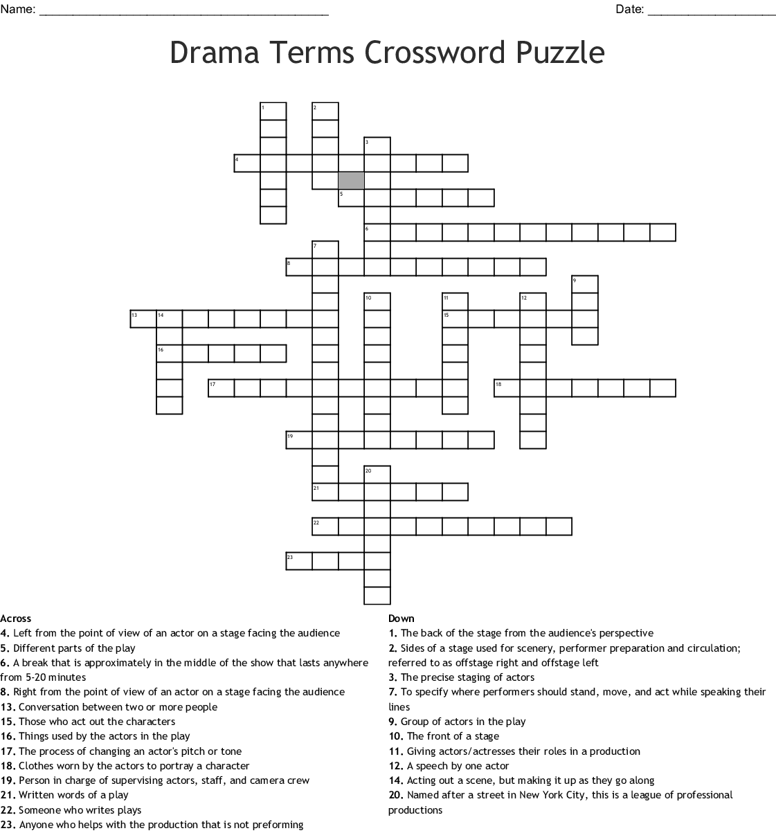 Drama Terms Crossword Puzzle - WordMint