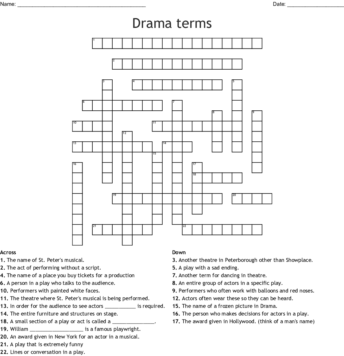 Drama terms Crossword - WordMint