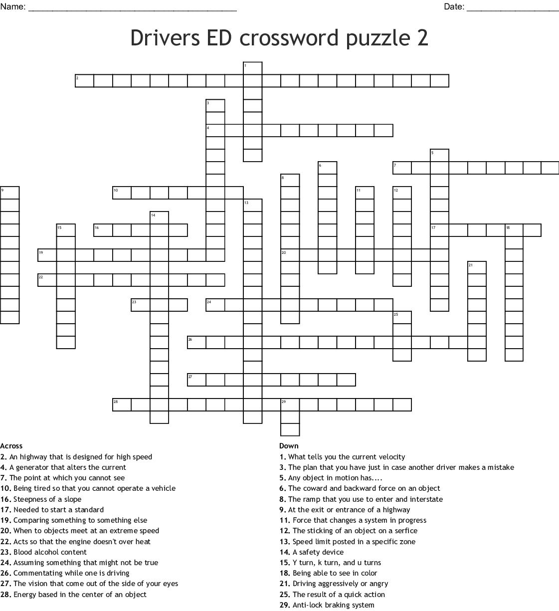 Drivers Ed Vocabulary Crossword Wordmint