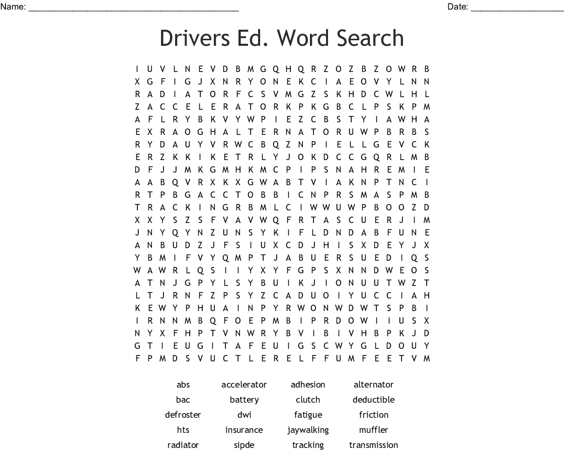 Drivers Ed Word Search