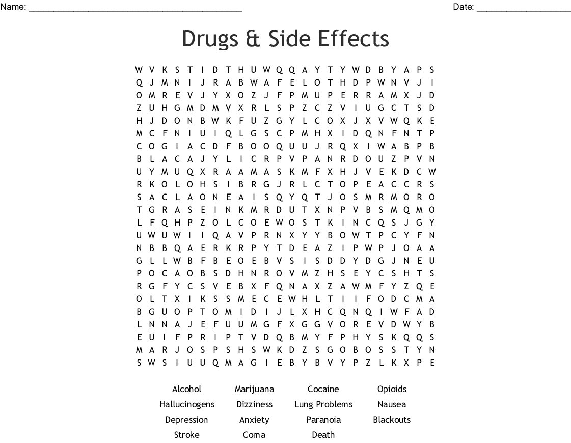 Drugs & Side Effects Word Search