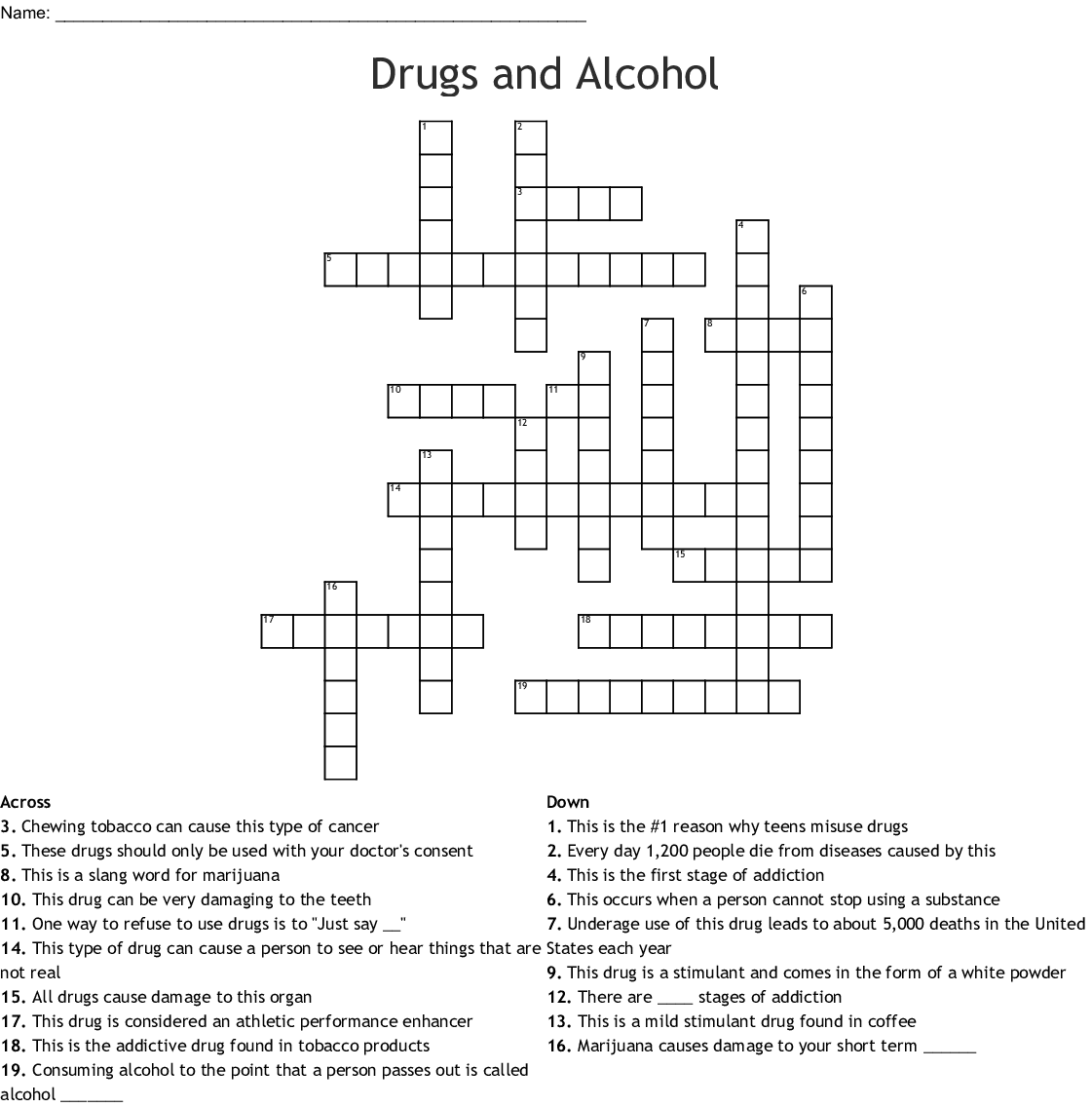 Drugs And Alcohol Crossword Wordmint