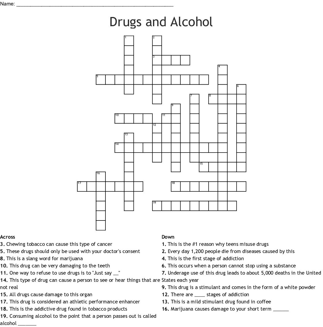 Drug Unit Crossword Wordmint