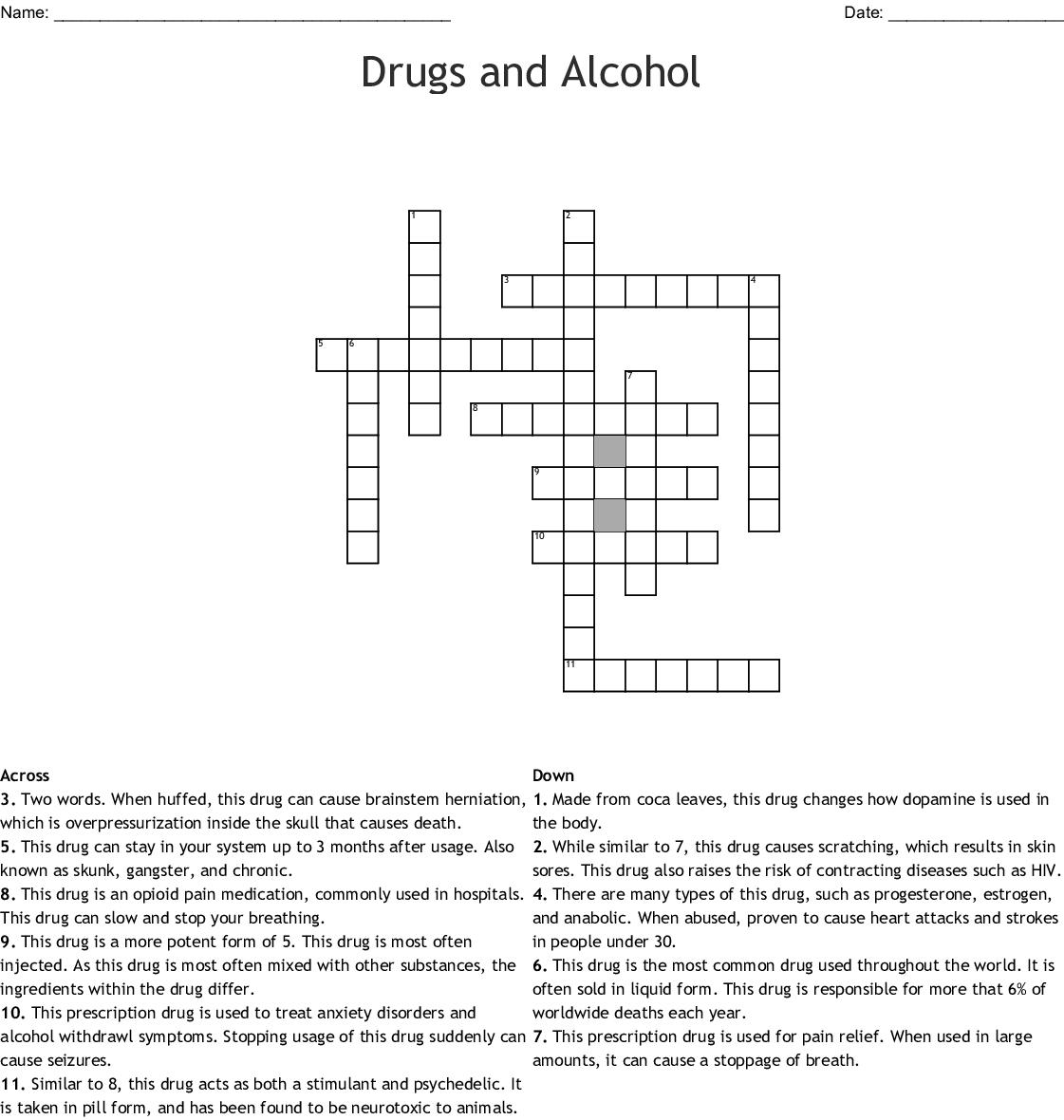 Opioid Crossword Wordmint