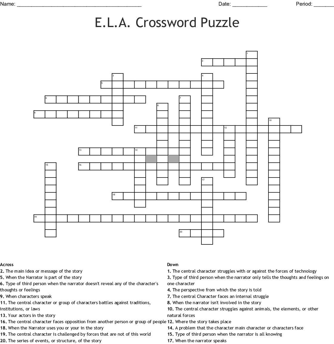 E L A  Crossword Puzzle - WordMint