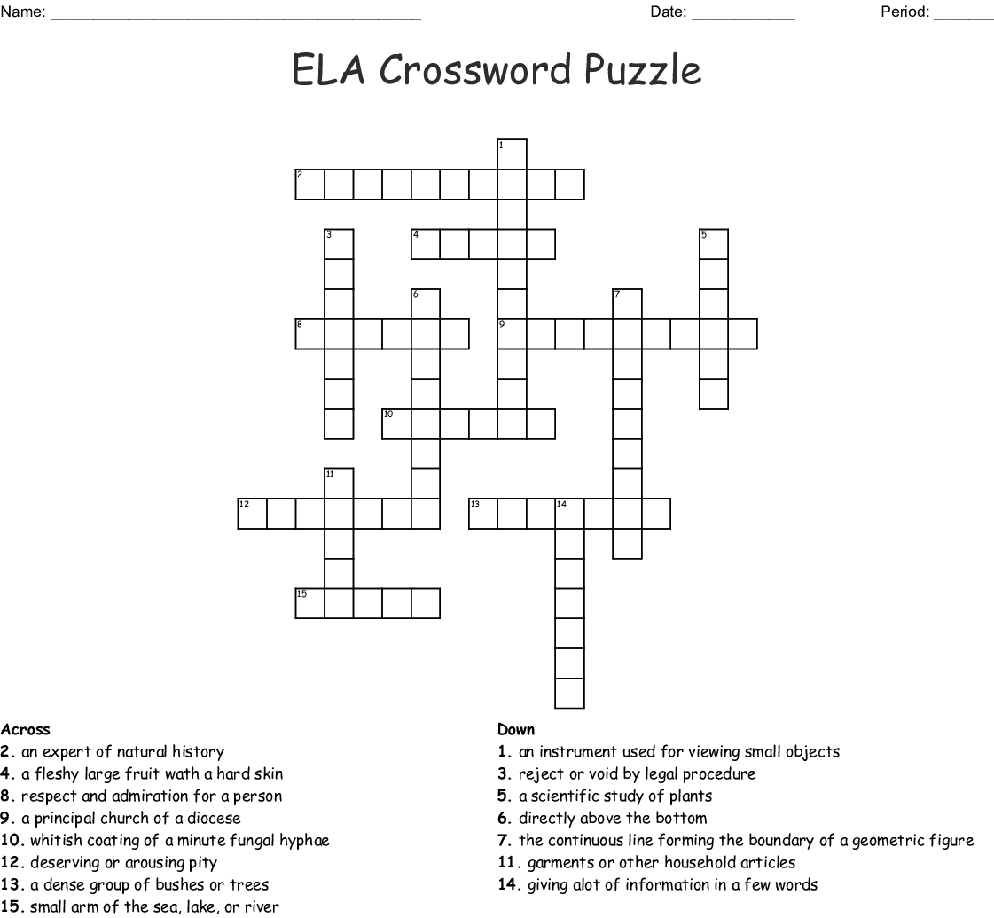 Ela Crossword Puzzle Wordmint