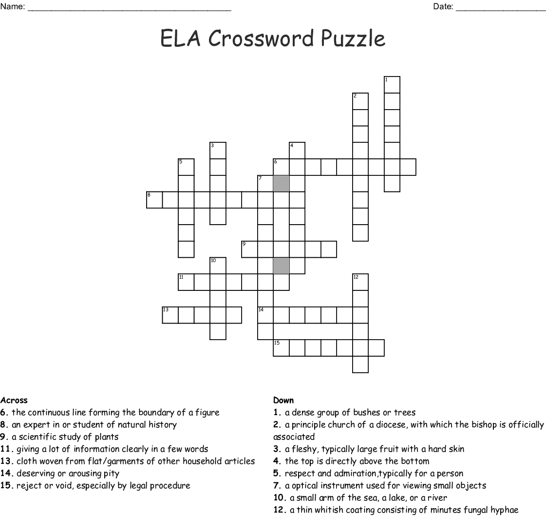 Ela Crossword Puzzle Wordmint