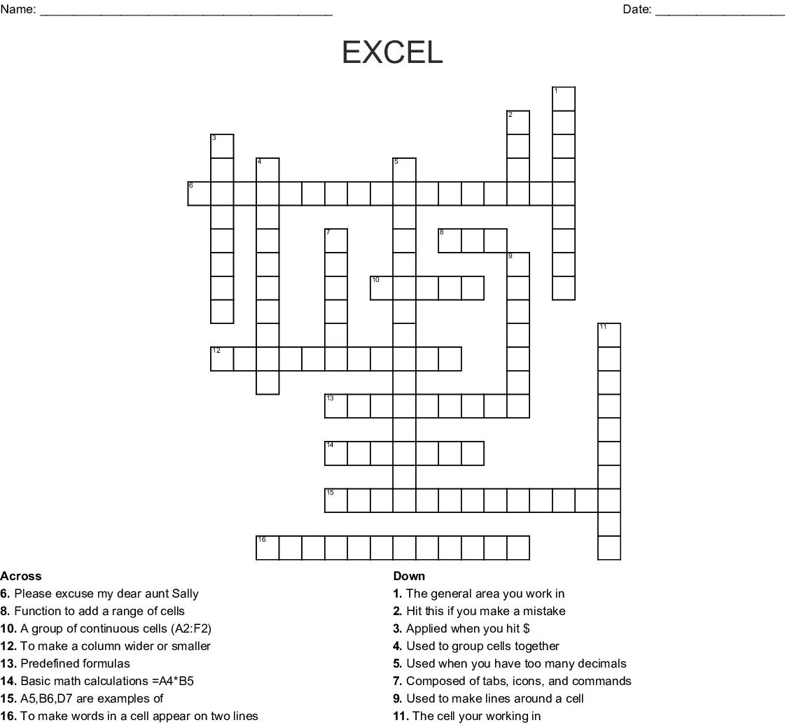EXCEL Crossword - WordMint