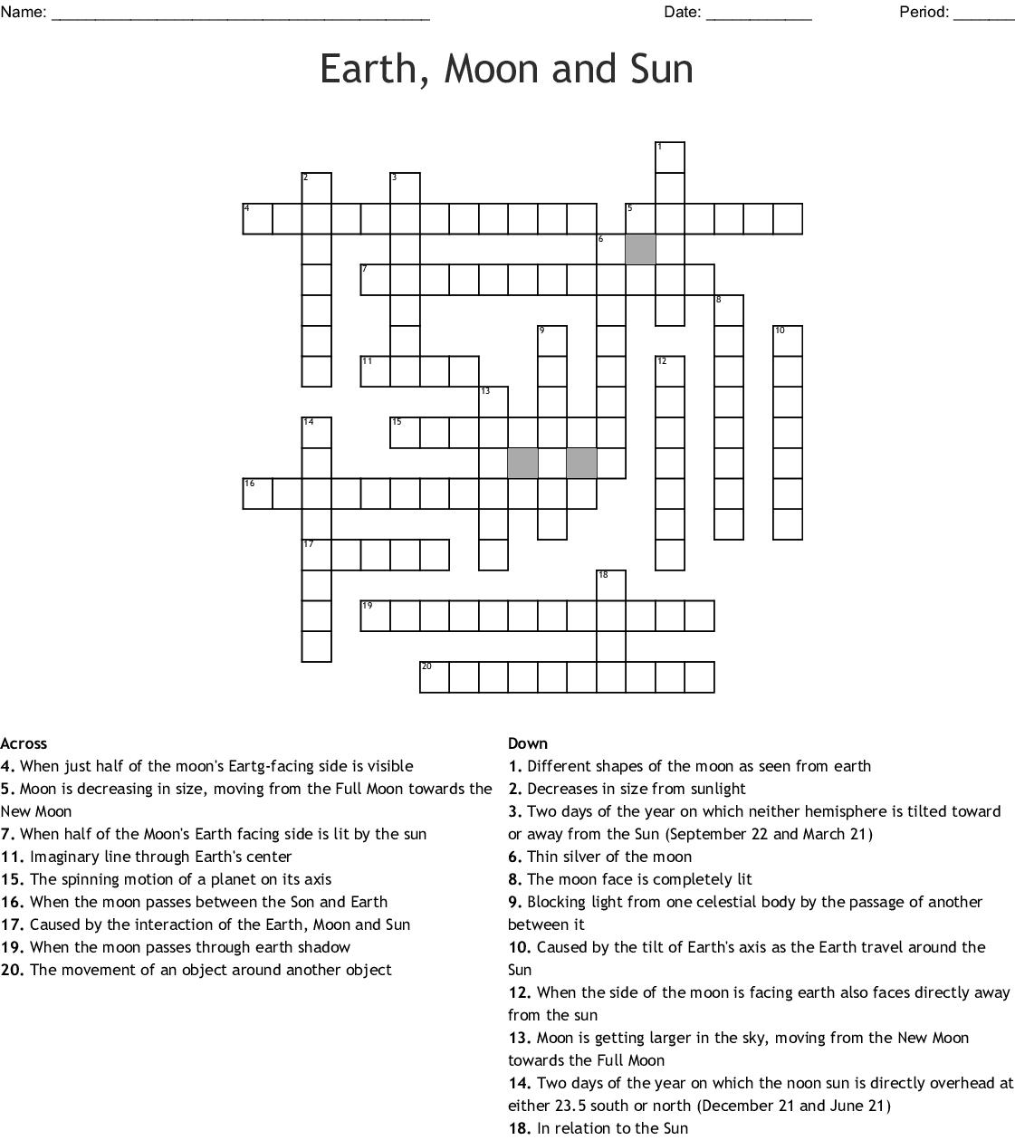 Earth Moon And Sun Crossword Wordmint