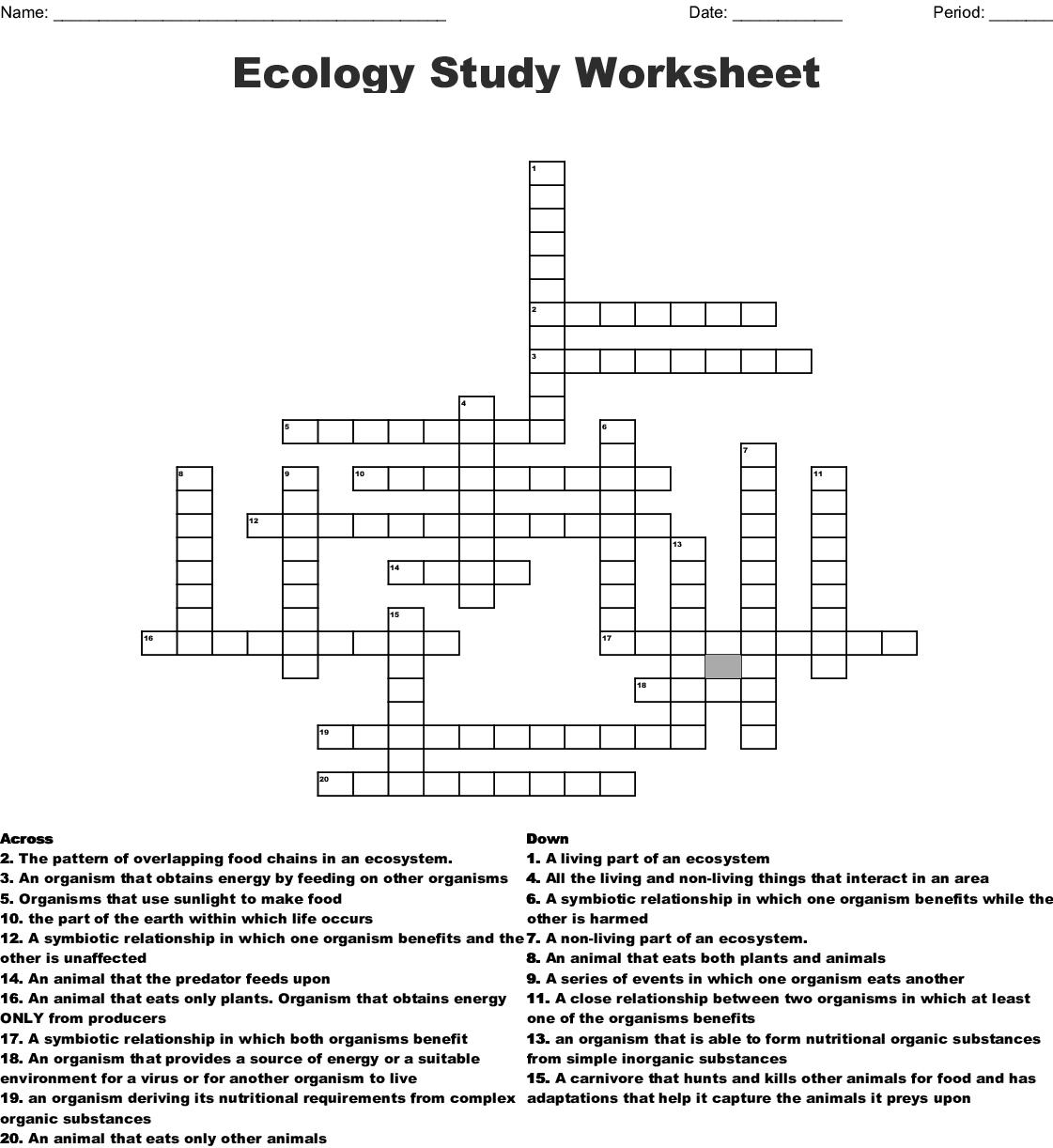Worksheet Ecology Worksheet ecology study worksheet crossword wordmint