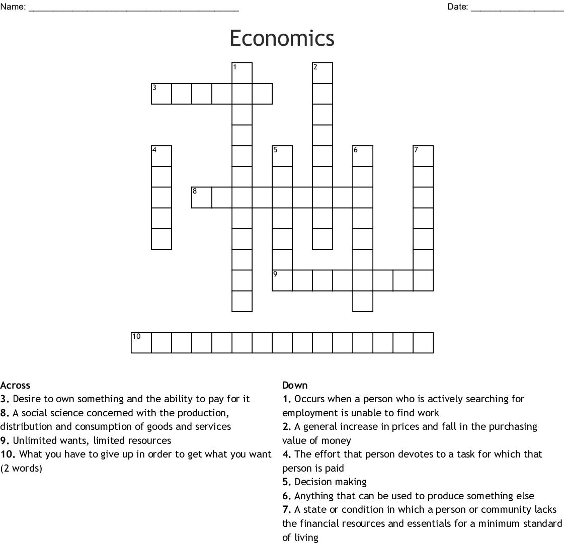 Economics Crossword - WordMint