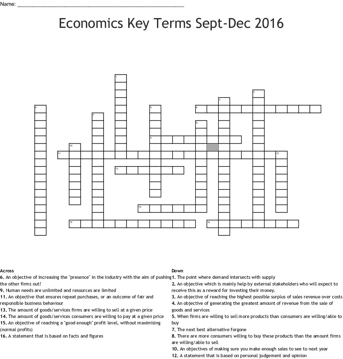 Economics Key Terms Sept-Dec 2016 Crossword - WordMint