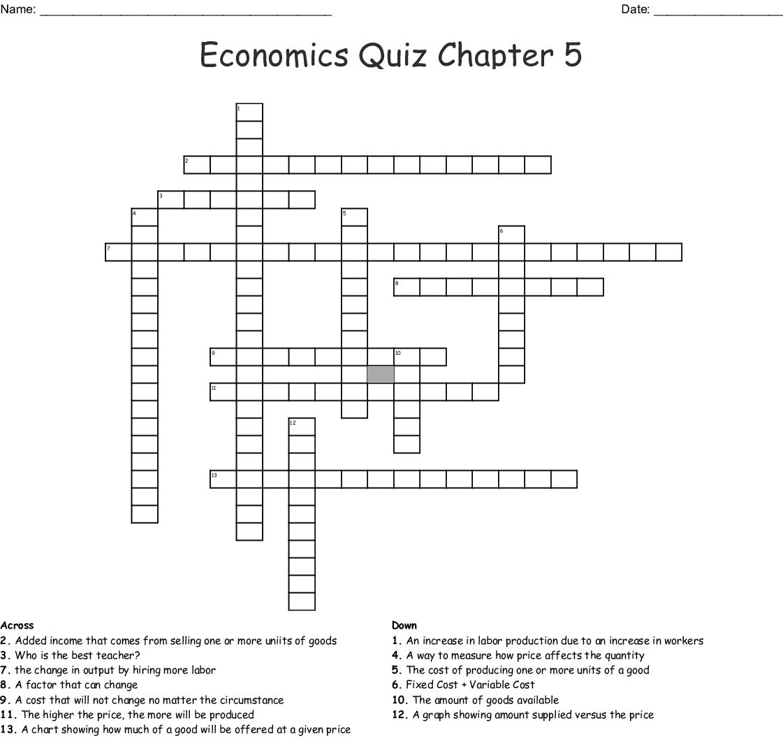 Economics Chapter 4 Crossword - WordMint