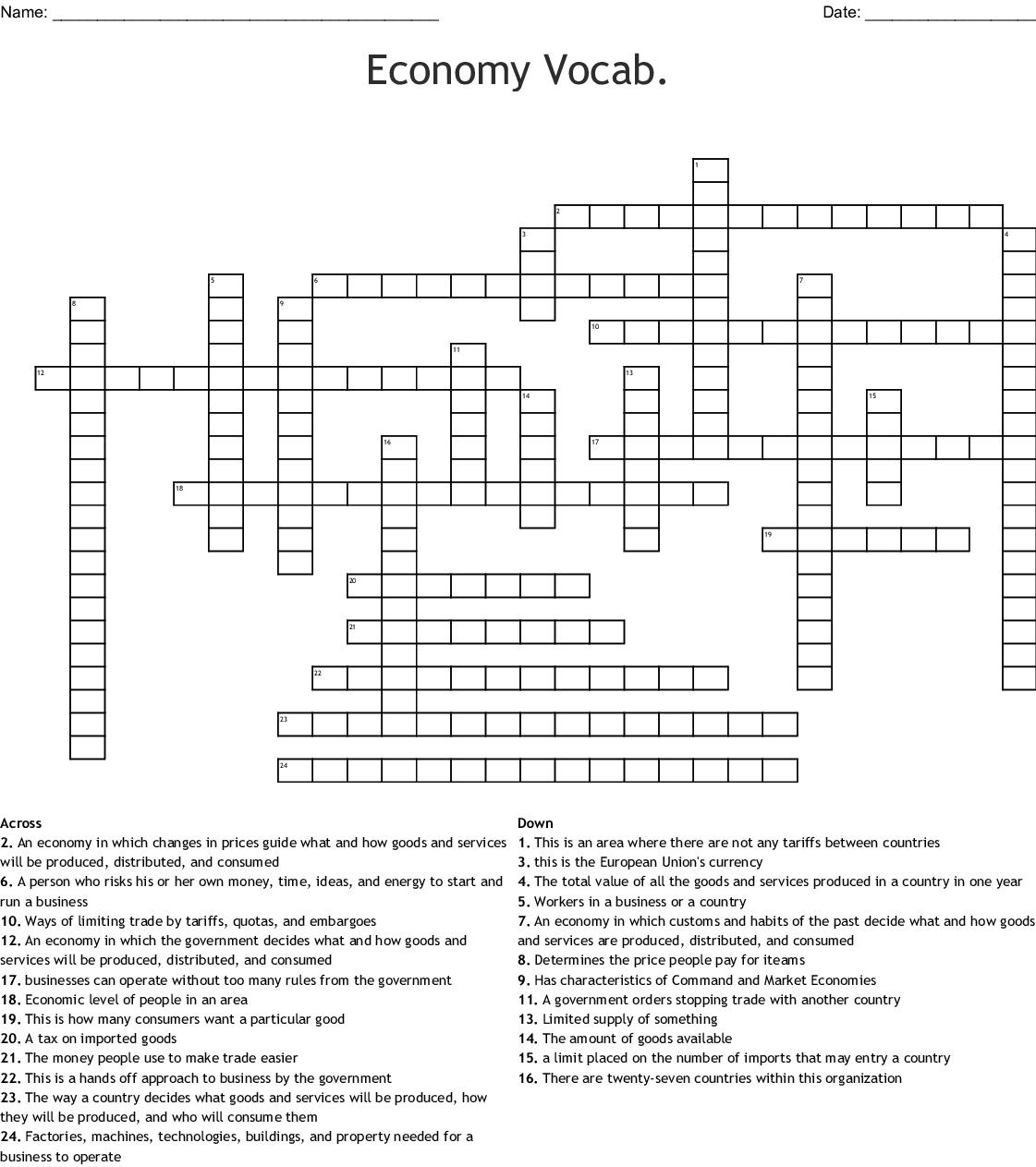 Economy Crossword - WordMint