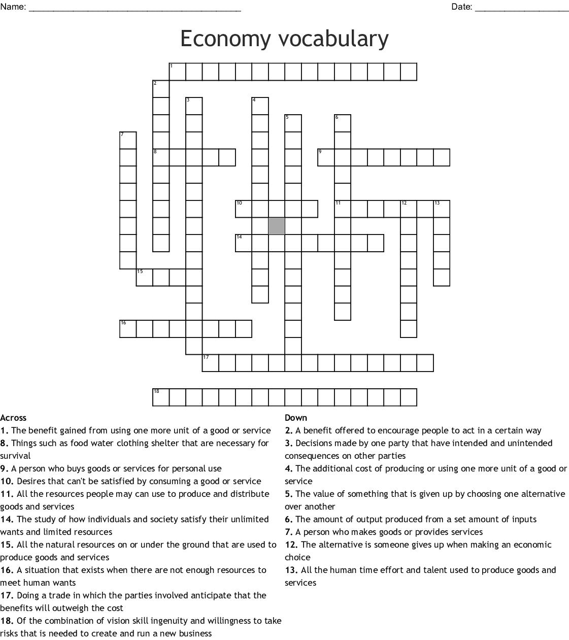 Economics Chapter 1 Crossword - WordMint