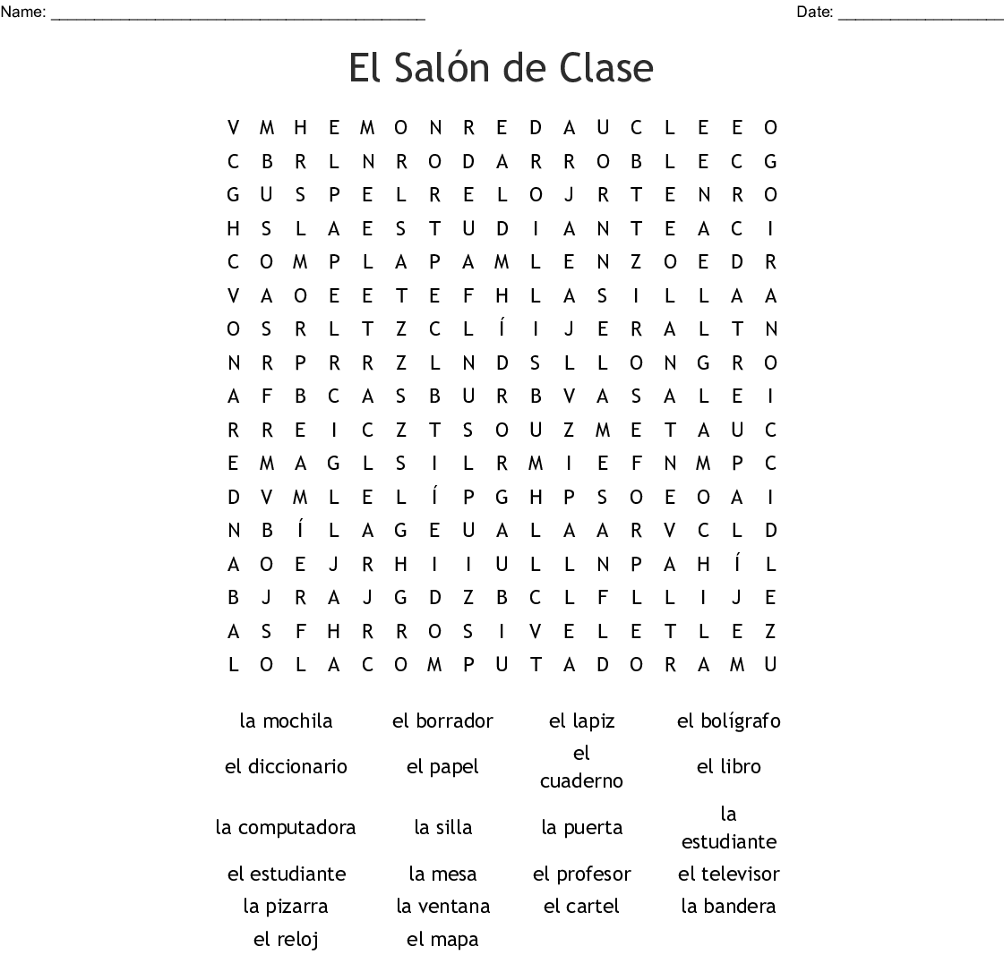 Spanish Classroom Words Word Search - WordMint