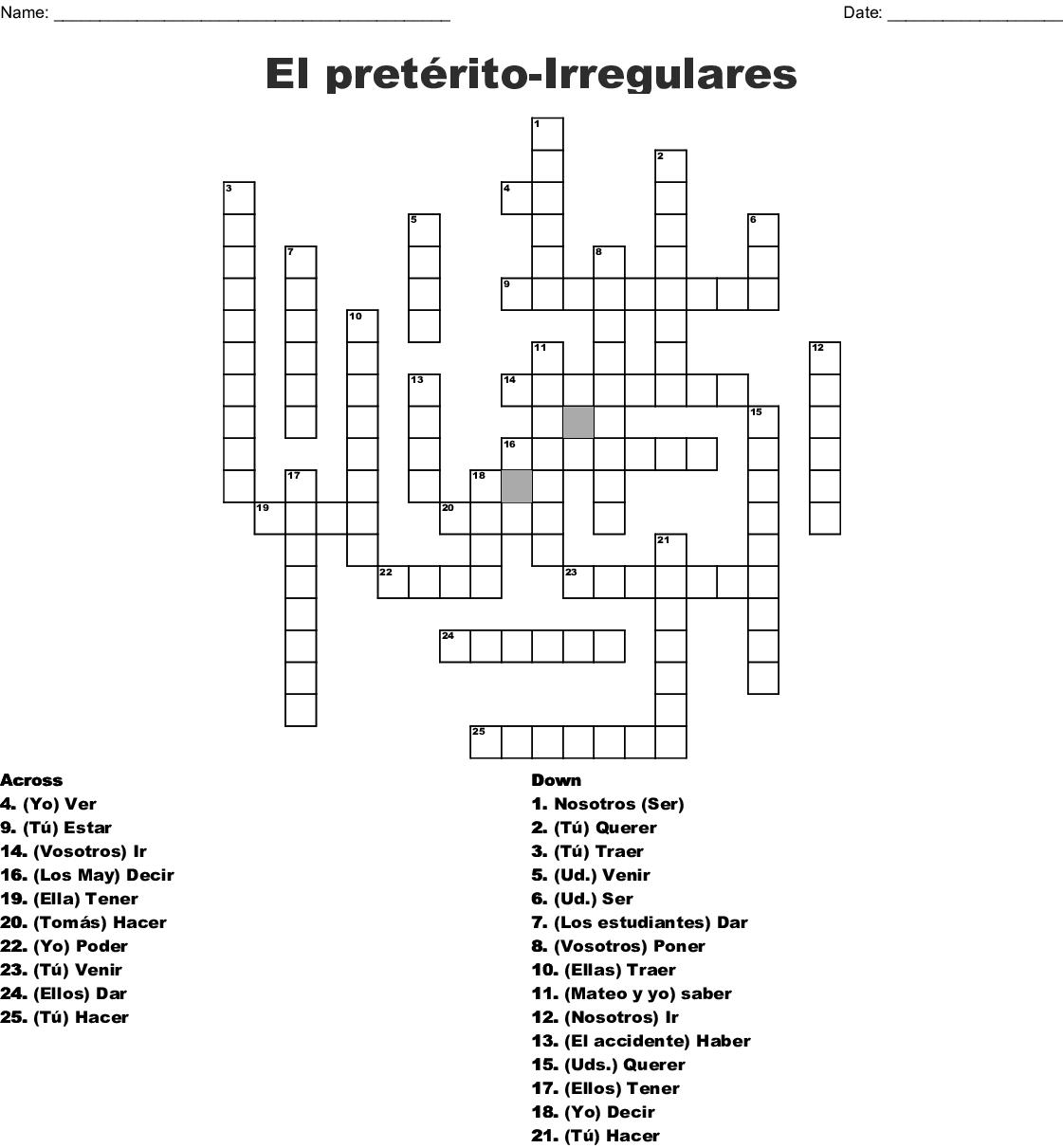 Preterito Crucigrama Crossword - WordMint