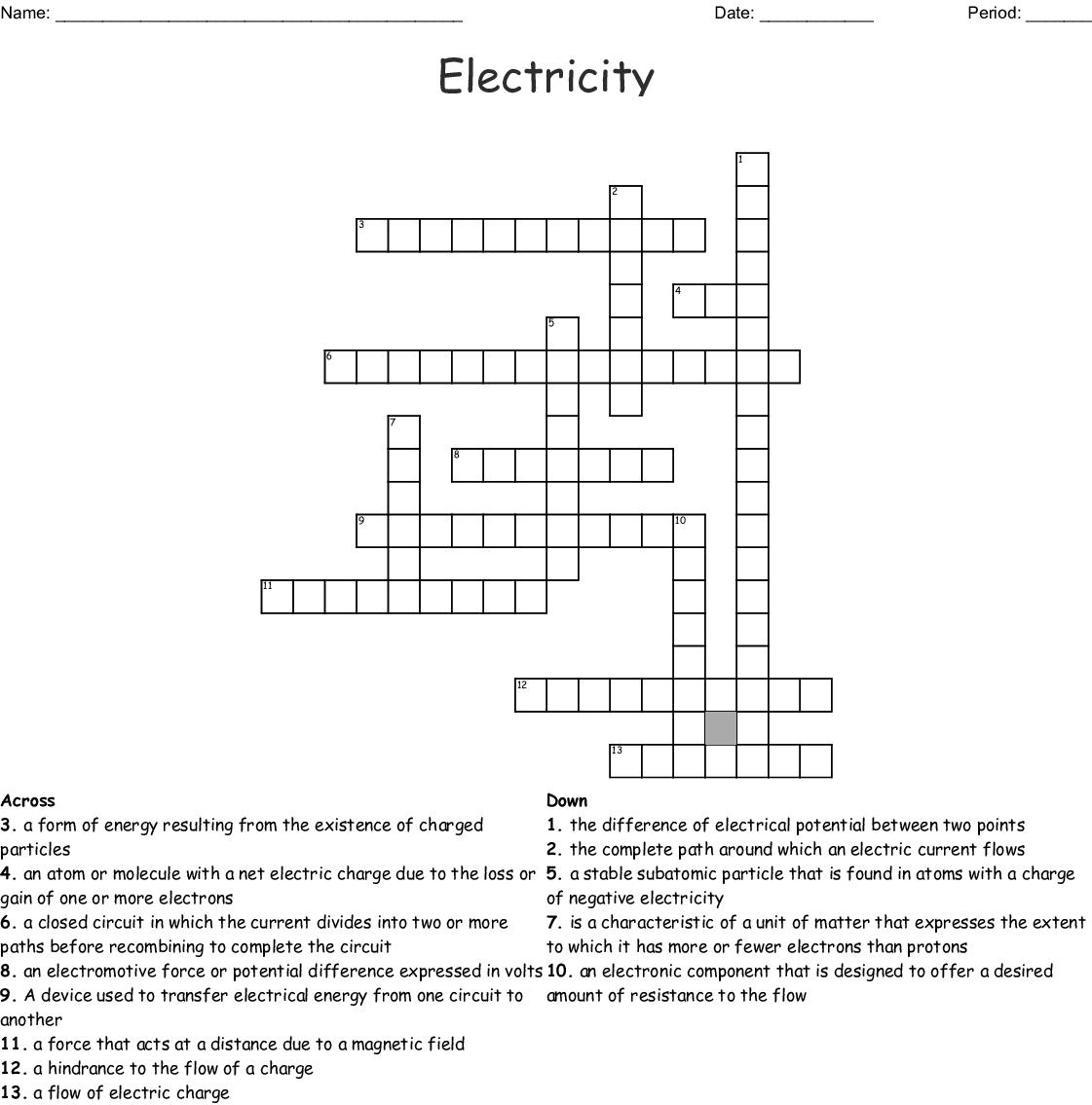Electricity Crossword Wordmint