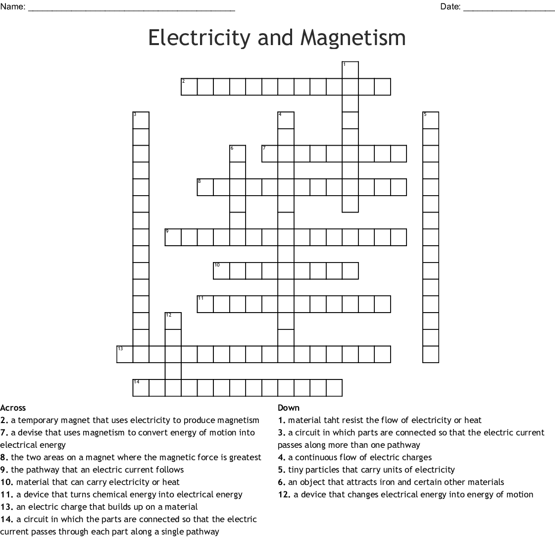 Electricity and Magnetism Crossword - WordMint