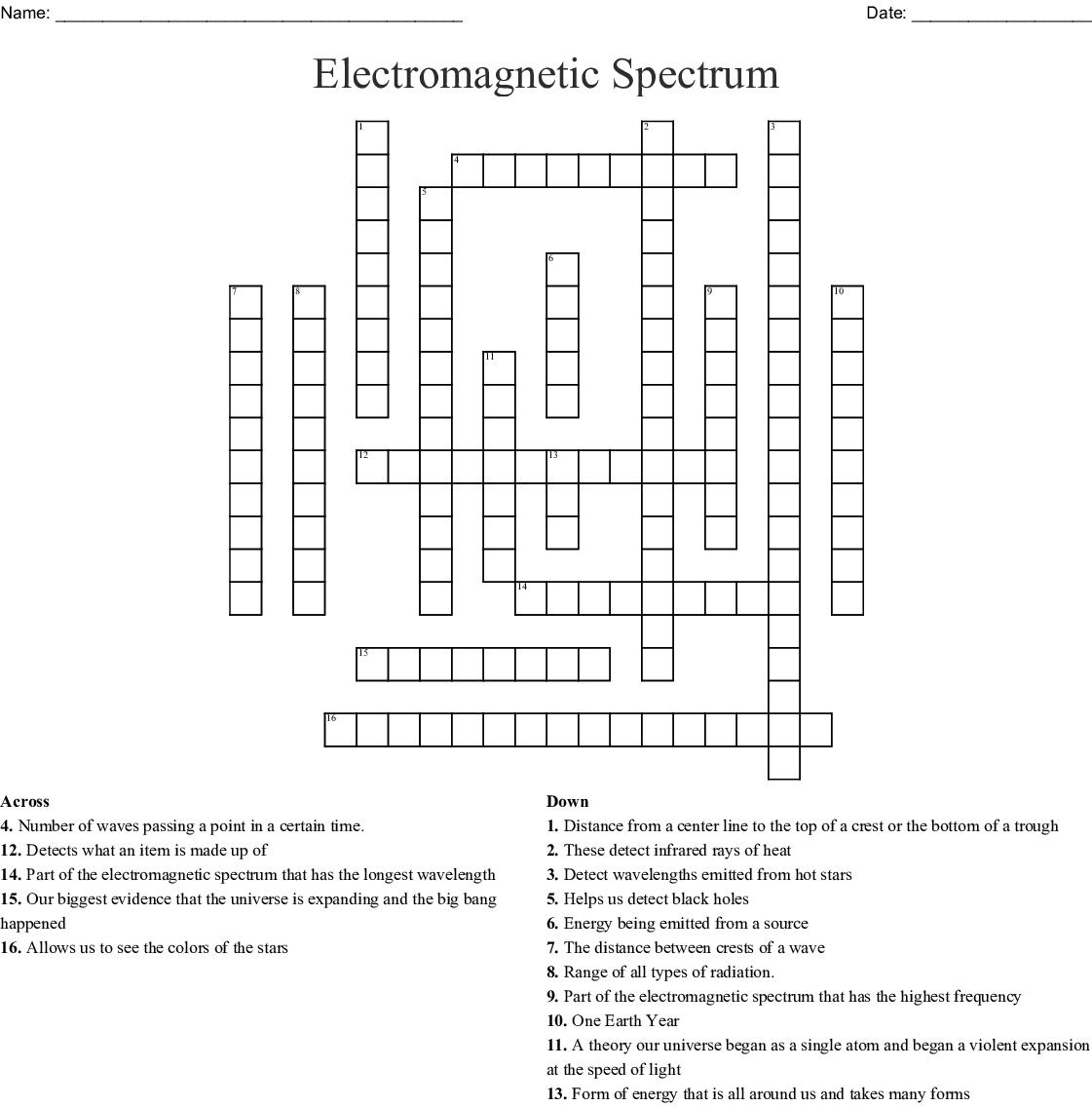 Electromagnetic Spectrum Crossword - WordMint