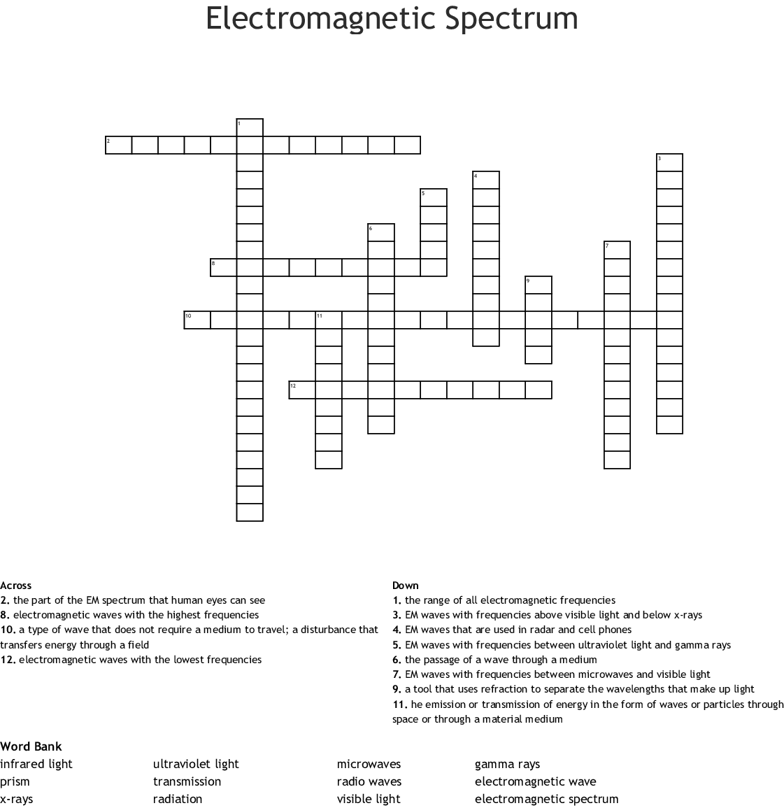 Waves, Sound, and Light Crossword - WordMint