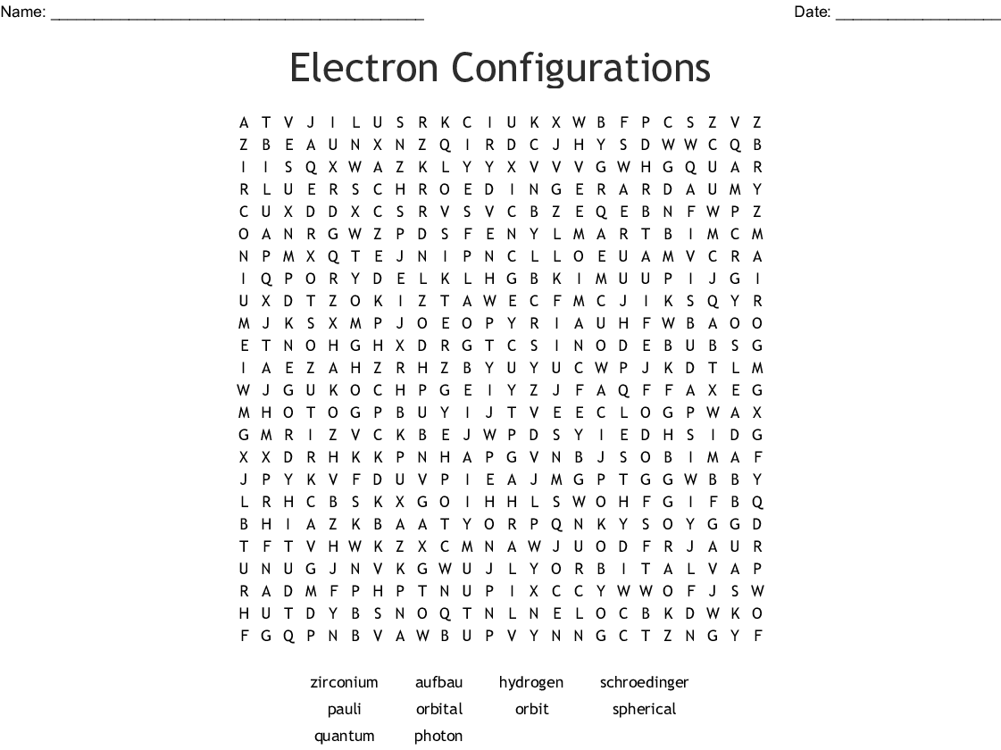 Electron Configurations Word Search - WordMint