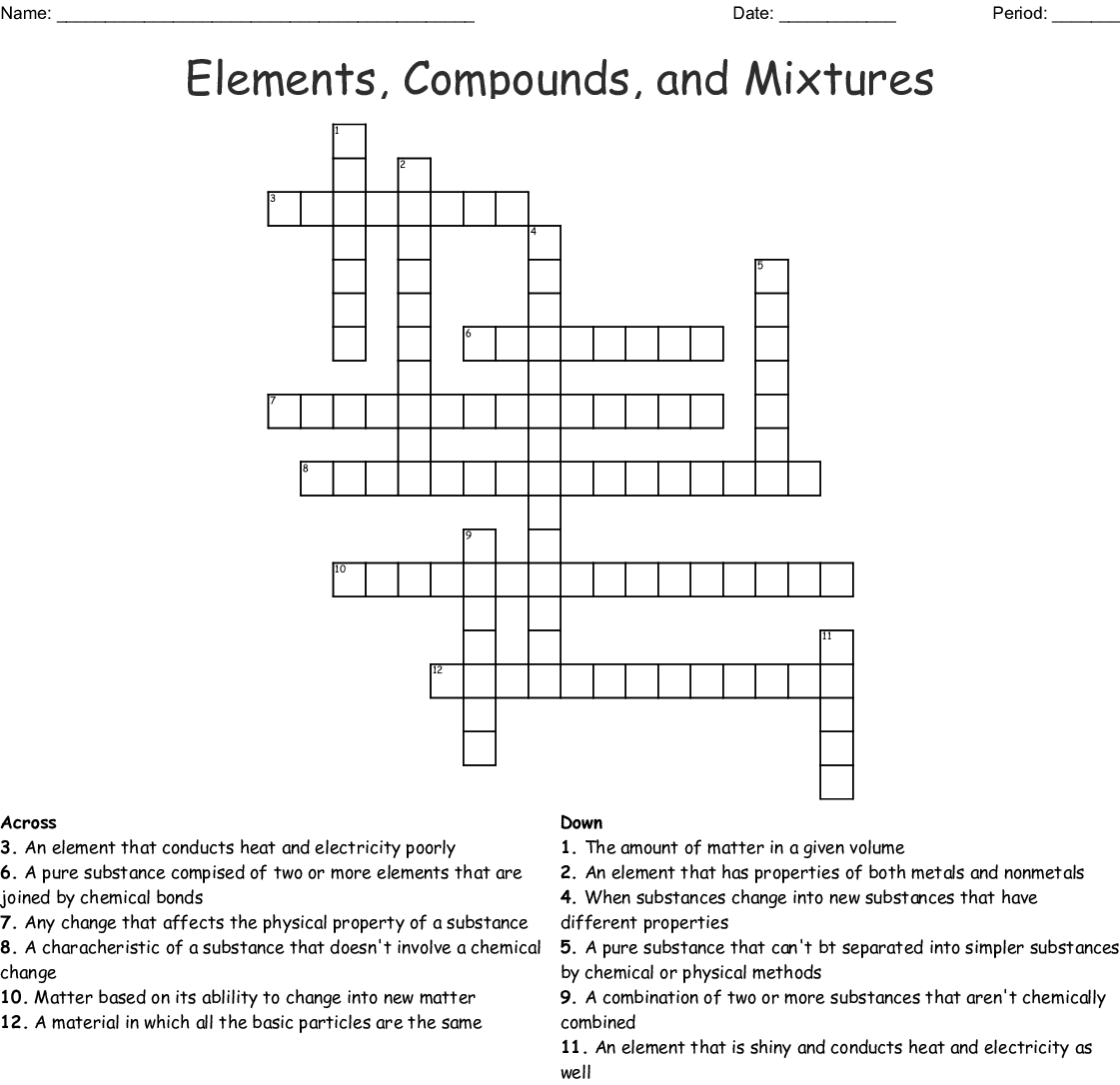 Elements, Compounds, and Mixtures Crossword - WordMint