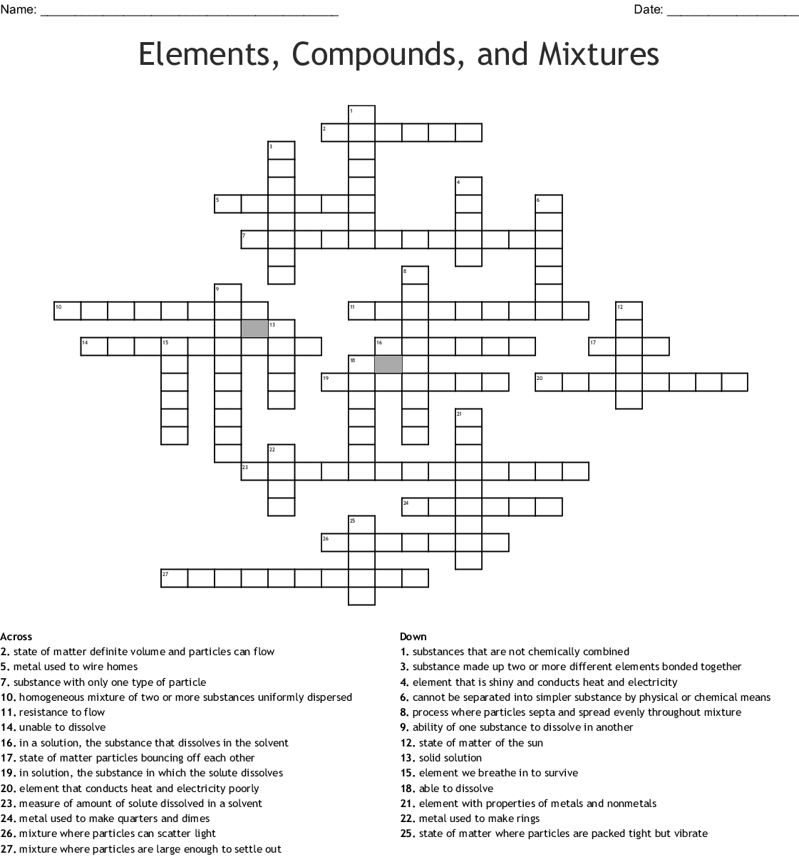 Elements Compoundixtures Crossword