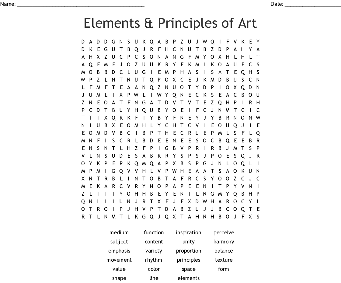 Elements of Art & Principles of Design Word Search - WordMint
