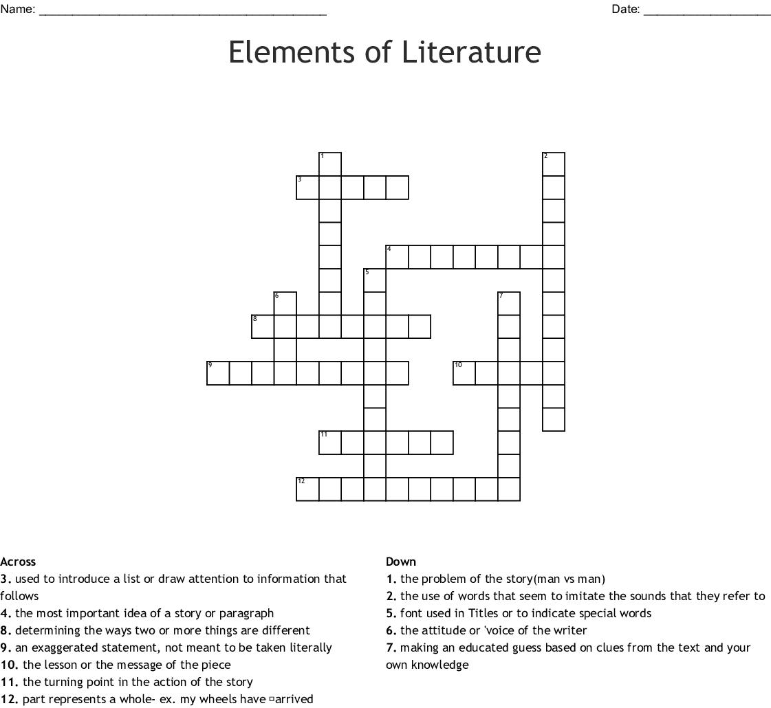 Elements Of Literature Crossword Wordmint