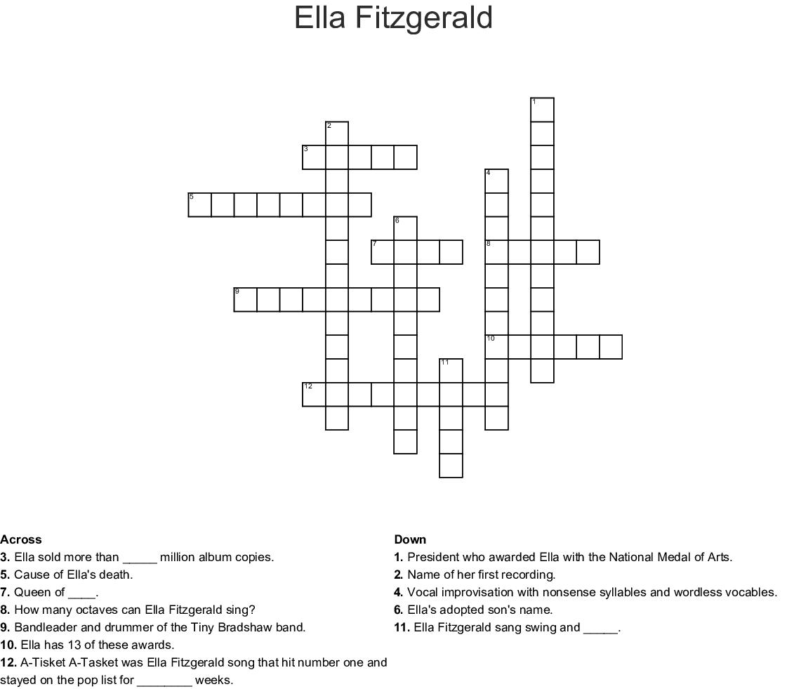 Ella Fitzgerald Crossword - WordMint