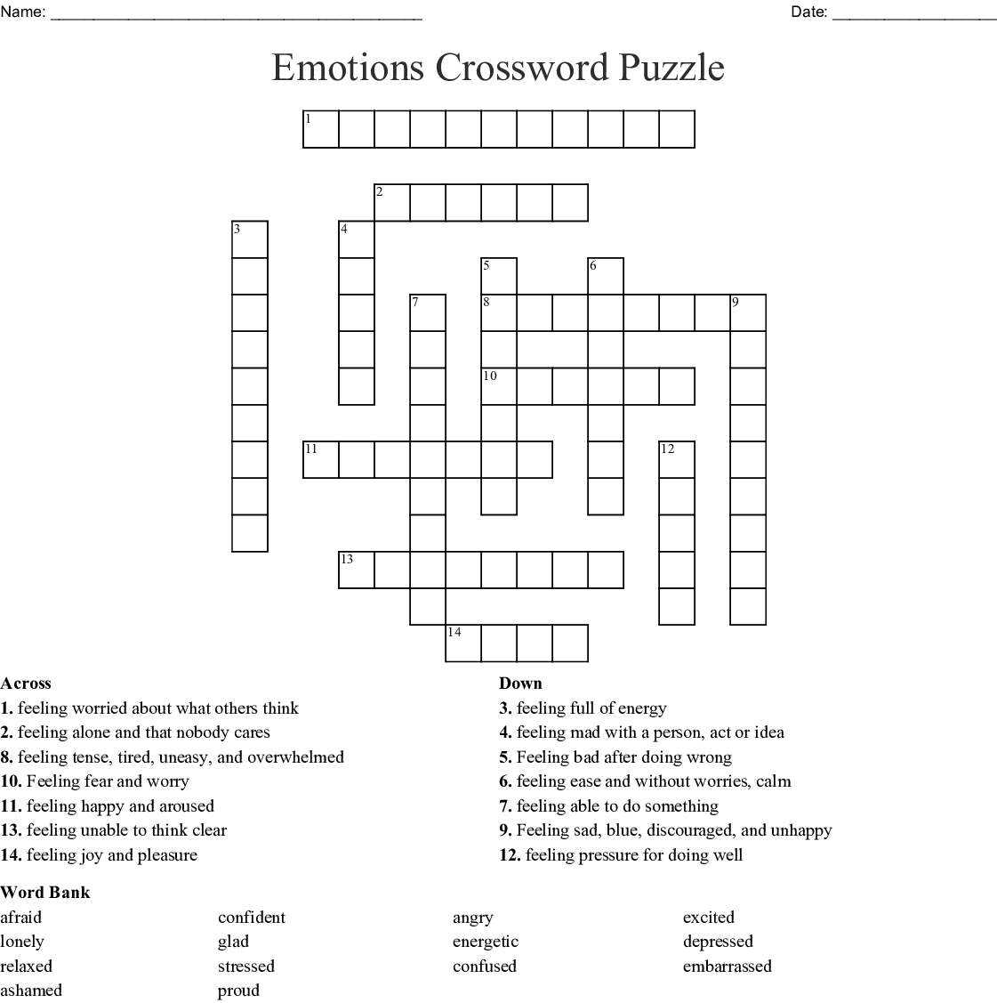 Emotions Crossword Puzzle Wordmint
